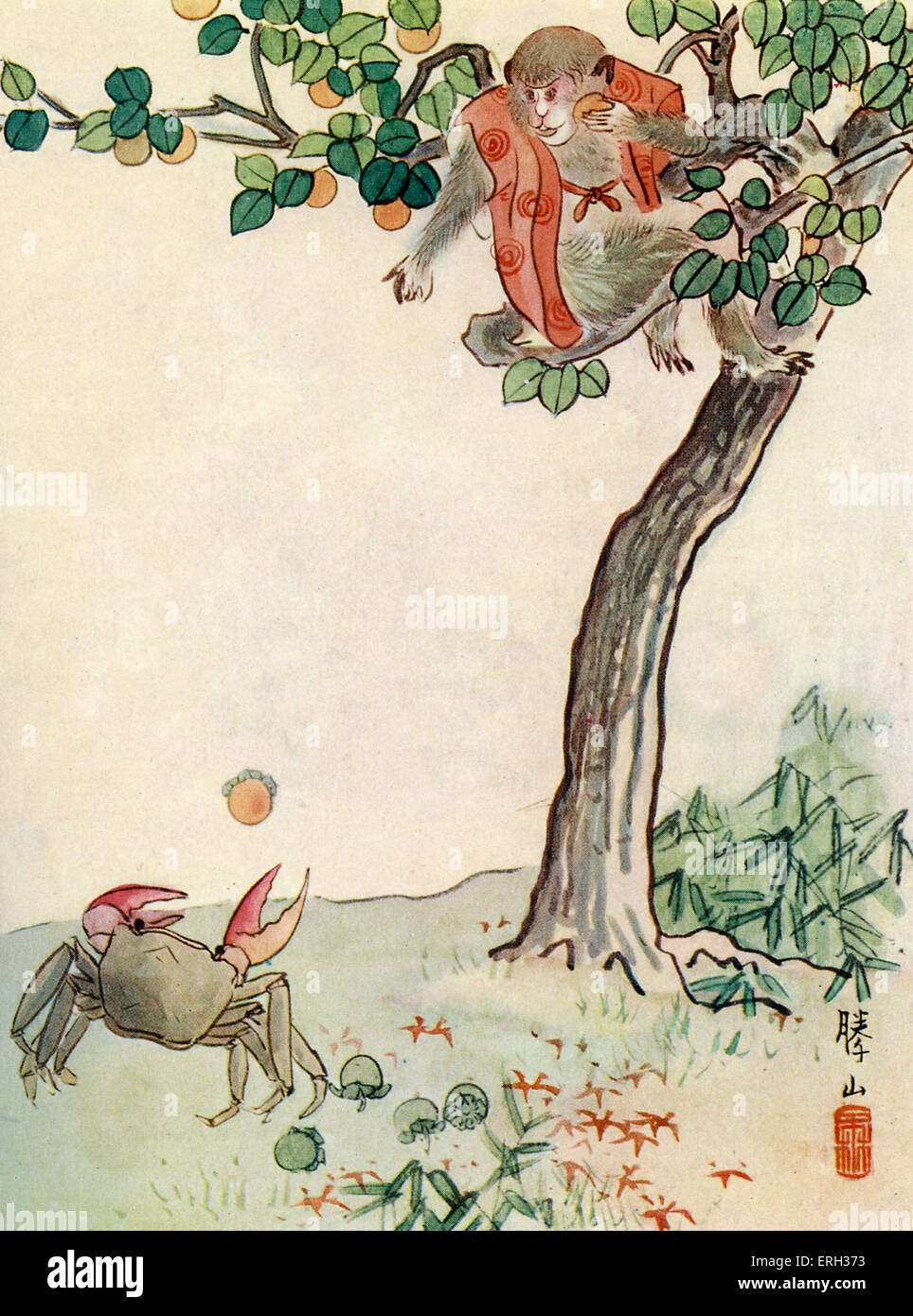 The Story of the Monkey and the Crab, from Wonder Tales of Old Japan by Alan Leslie Whitehorn, Published 1911 (Japanese - Stock Image