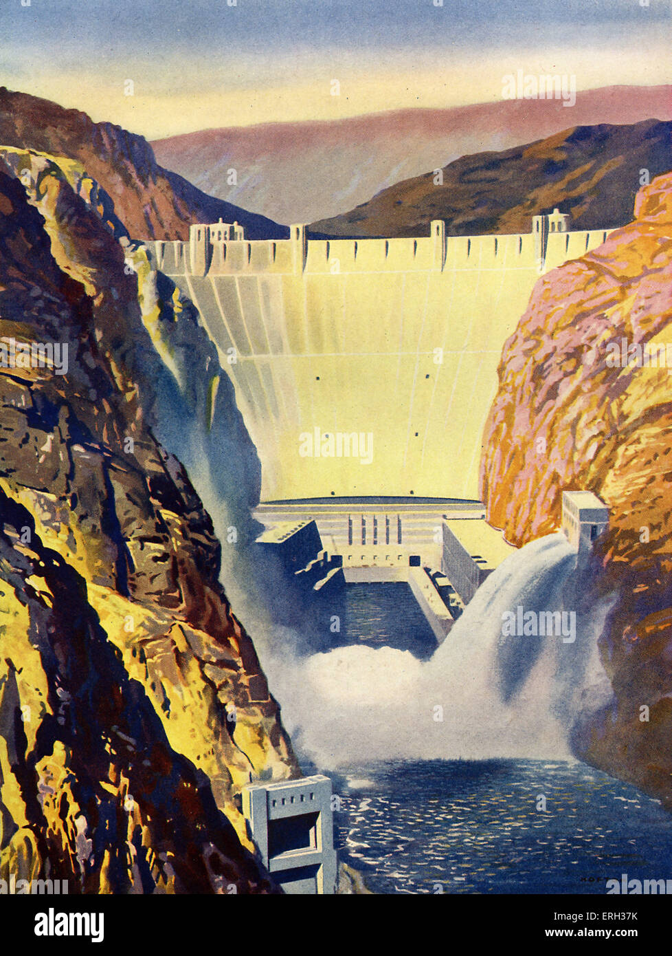 Hoover Dam, formerly the Boulder Dam. Caption reads: 'The Boulder Dam in Arizona'. Concrete arch-gravity - Stock Image