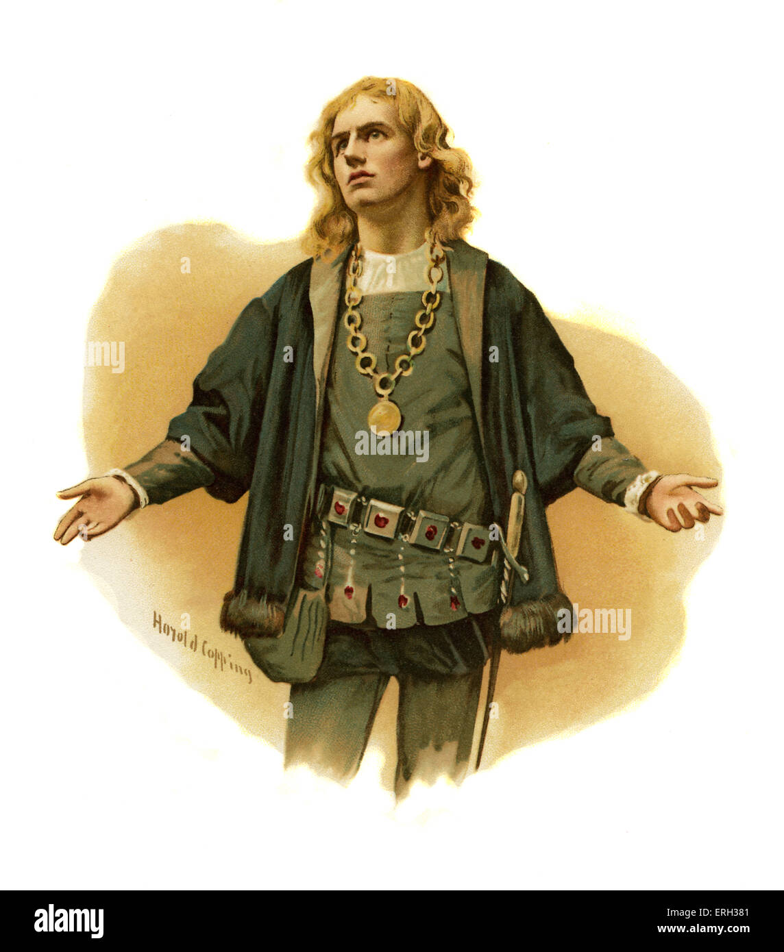 Hamlet, Prince of Denmark by William Shakespeare. Illustration by Harold Copping. English poet and playwright baptised - Stock Image