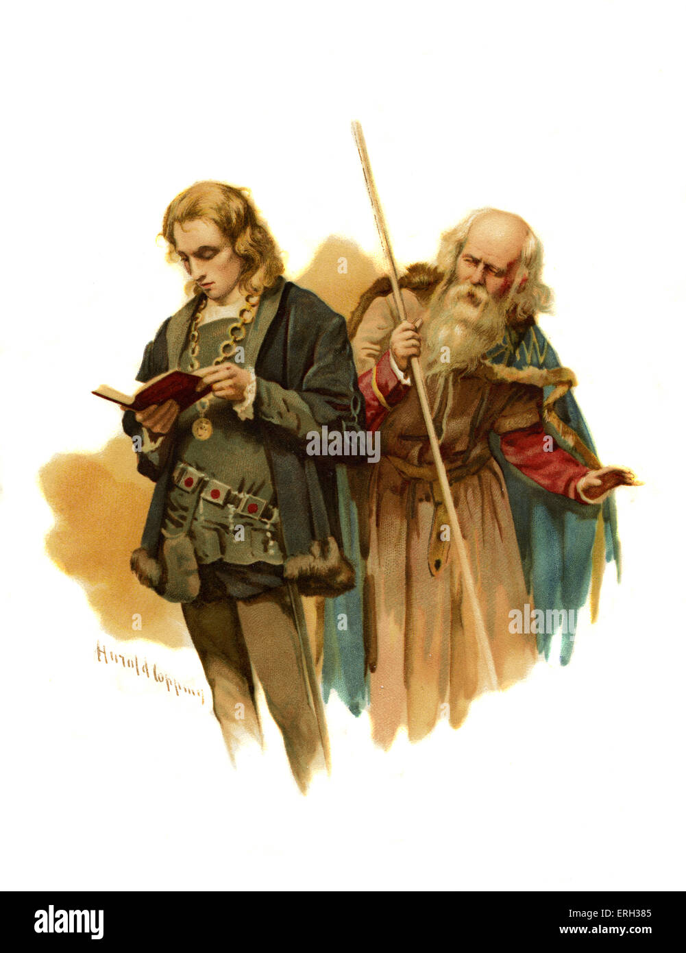 Polonius addresses Hamlet who is reading in Hamlet, Prince of Denmark by William Shakespeare. Act II, Scene 2: Queen: - Stock Image