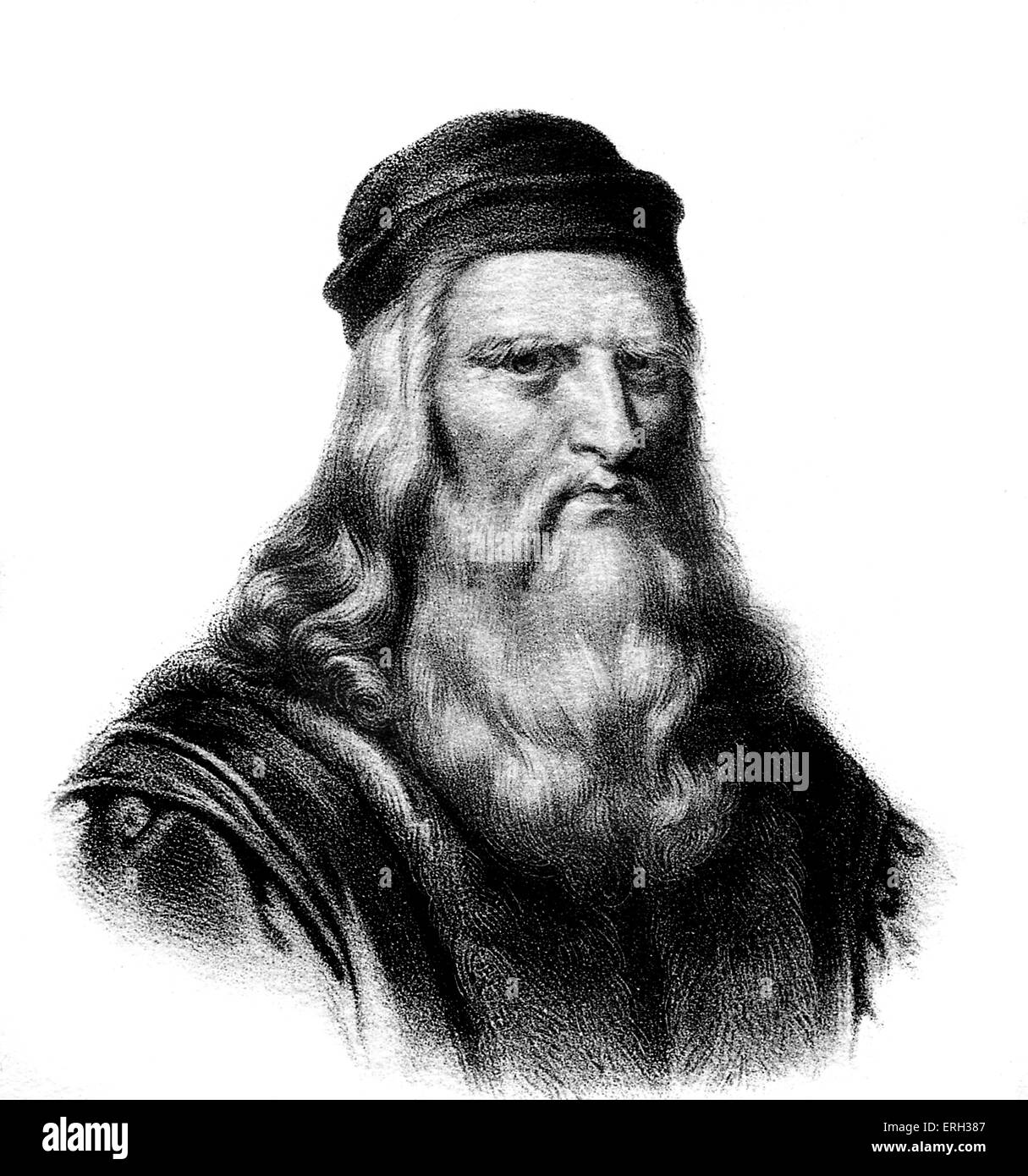 Leonardo da Vinci -  Italian Renaissance painter, sculptor, writer, scientist, architect and engineer.1452-1519 - Stock Image