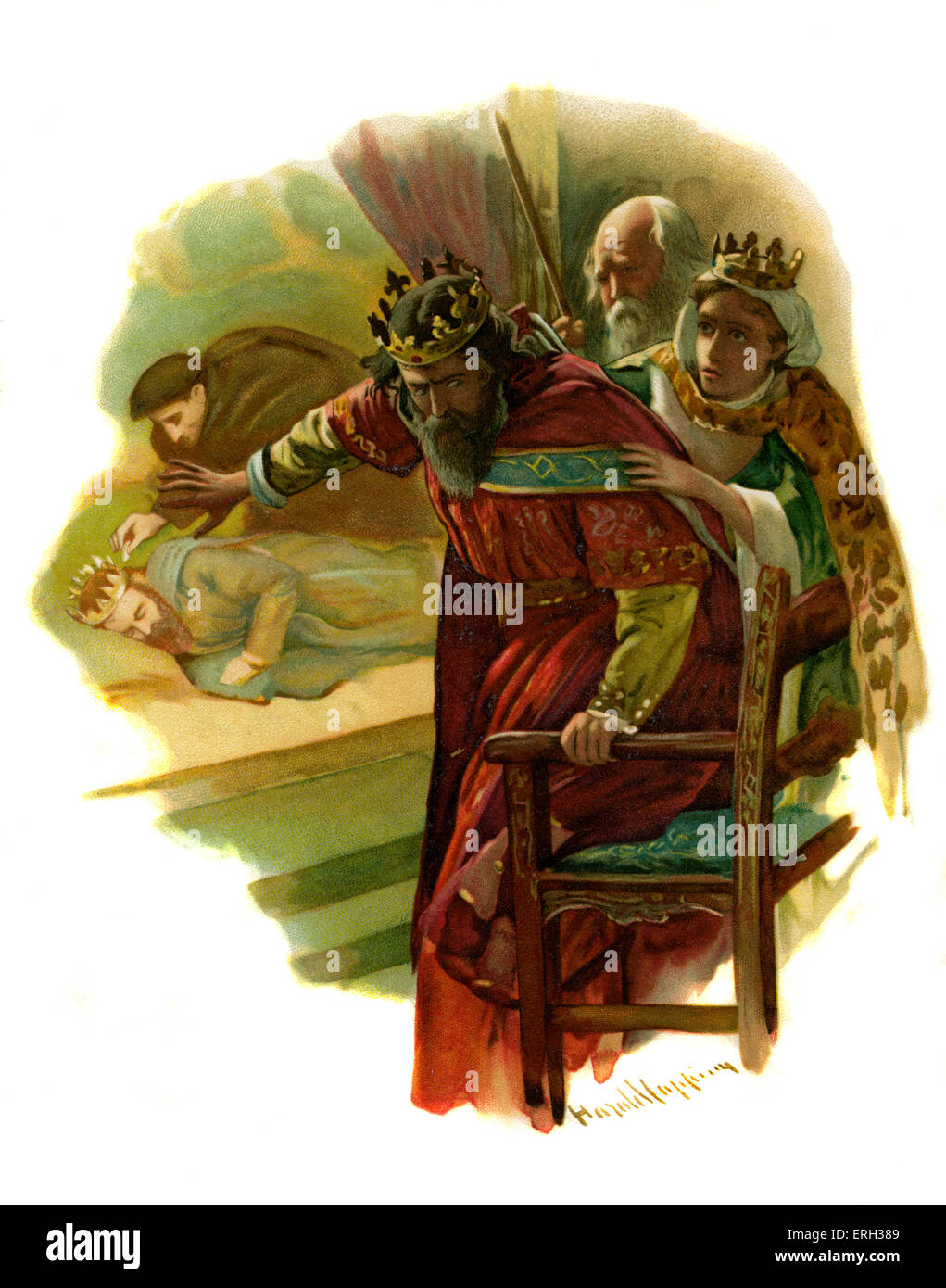 Claudius flees a re-enactment of the old king's murder in Hamlet, Prince of Denmark by William Shakespeare. - Stock Image