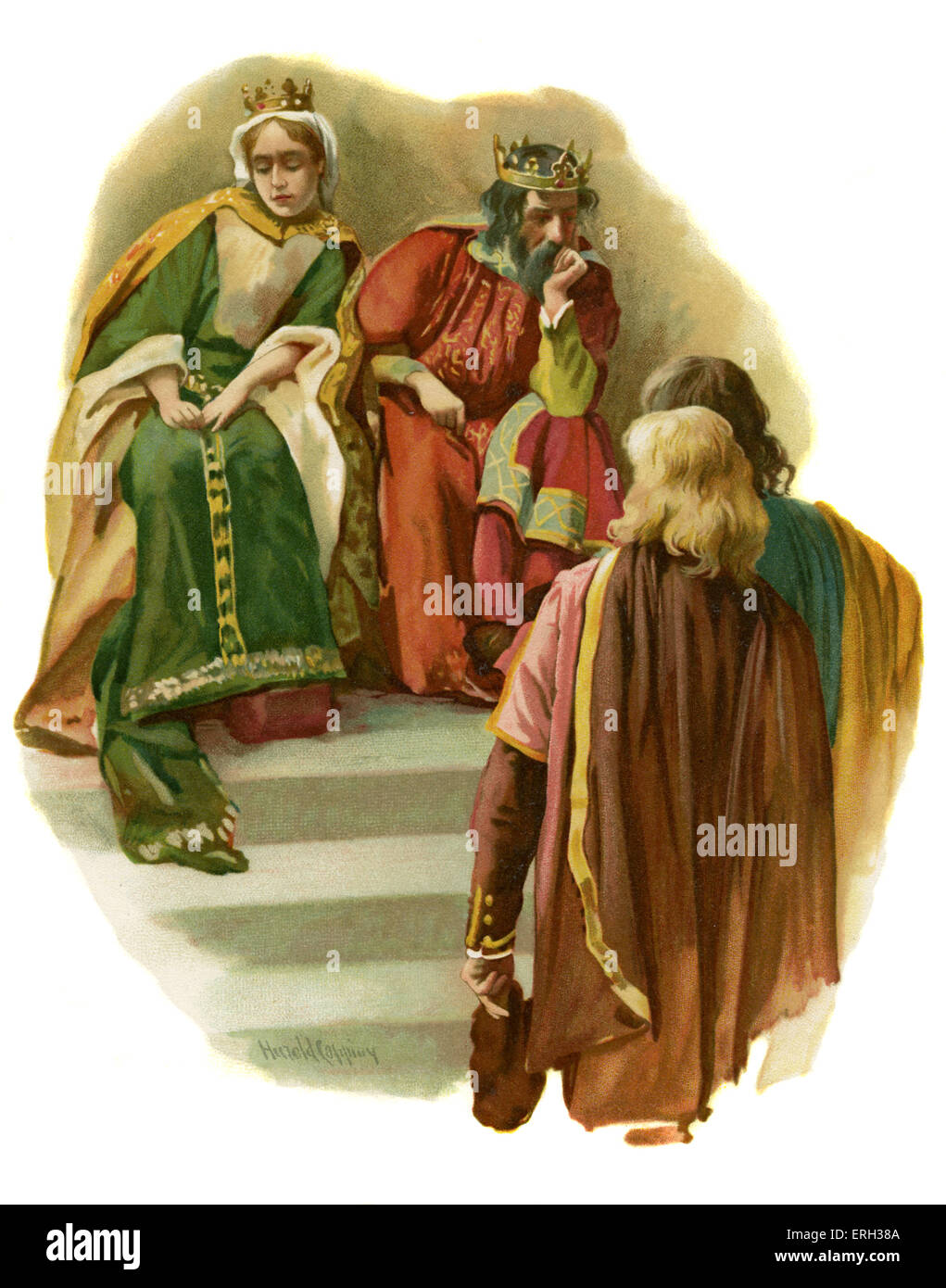 Claudius tells Rosencrantz and Guildenstern of Polonius murder by the prince, in Hamlet, Prince of Denmark by William - Stock Image