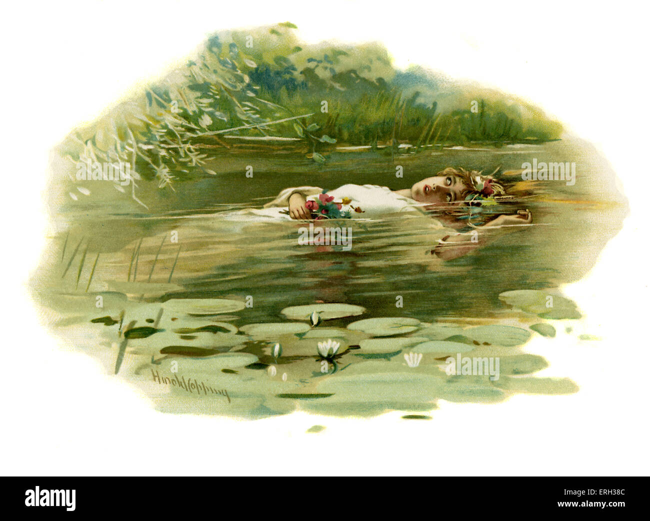 Ophelia drowning in Hamlet, Prince of Denmark by William Shakespeare. Act IV, Scene 7.   Illustration by Harold - Stock Image