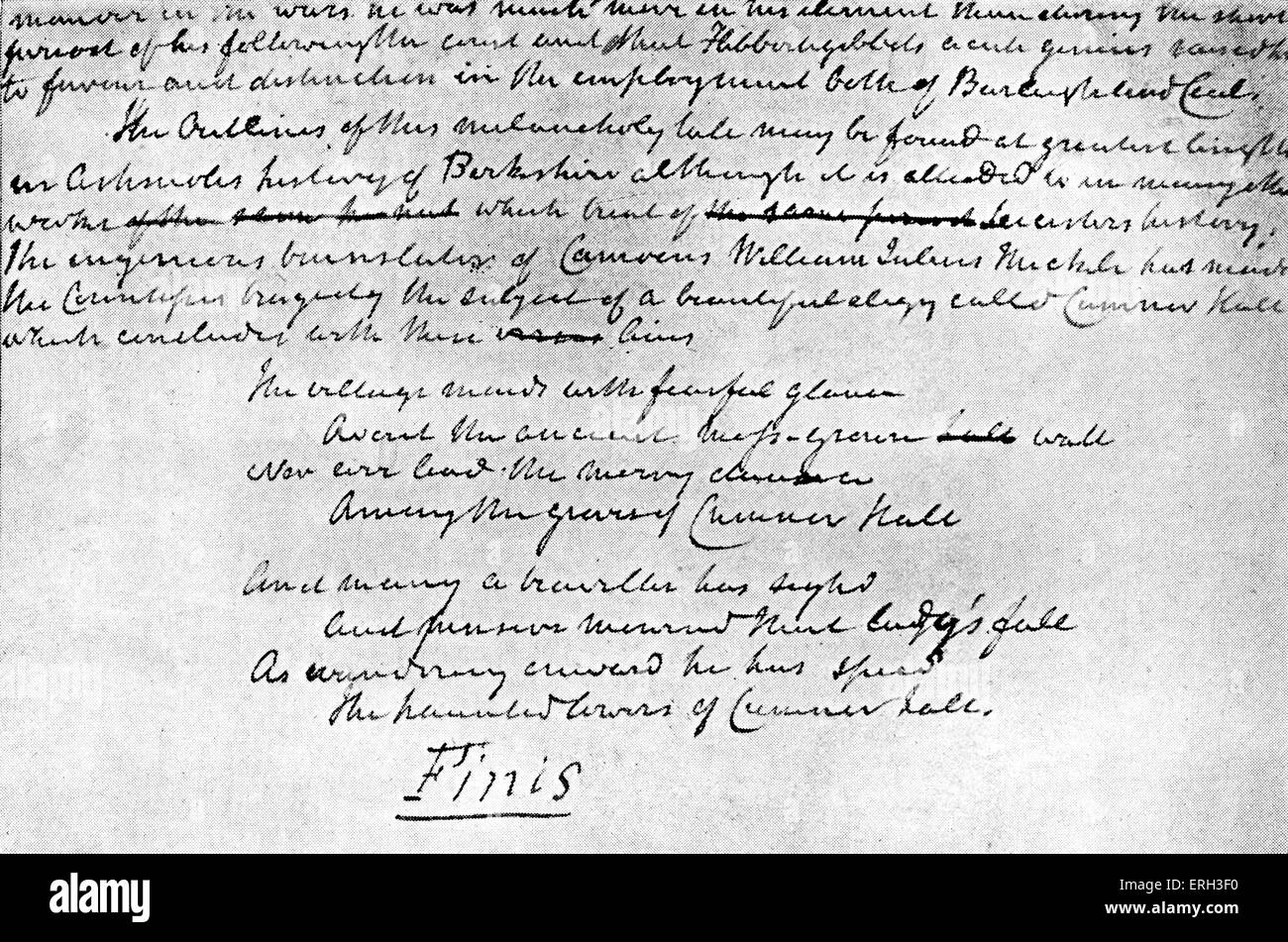 Kenilworth by Sir Walter Scott, . First published in 1821. Final page of the manuscript, corrected for the press. - Stock Image
