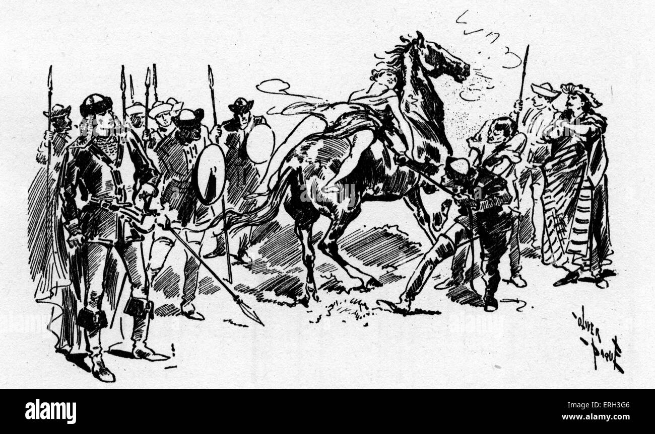 'Mazeppa' - a diorama.  Sketch at the Olympic Theatre revival, 1893.  Ivan Mazepa: Ukrainian Cossack military - Stock Image