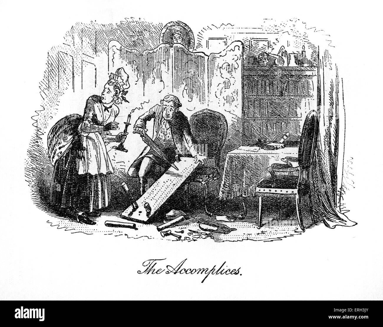 A Tale of Two Cities by Charles Dickens, published in 1859. Illustration by Hablot K. Browne (Phiz), 1815 - 1882. - Stock Image