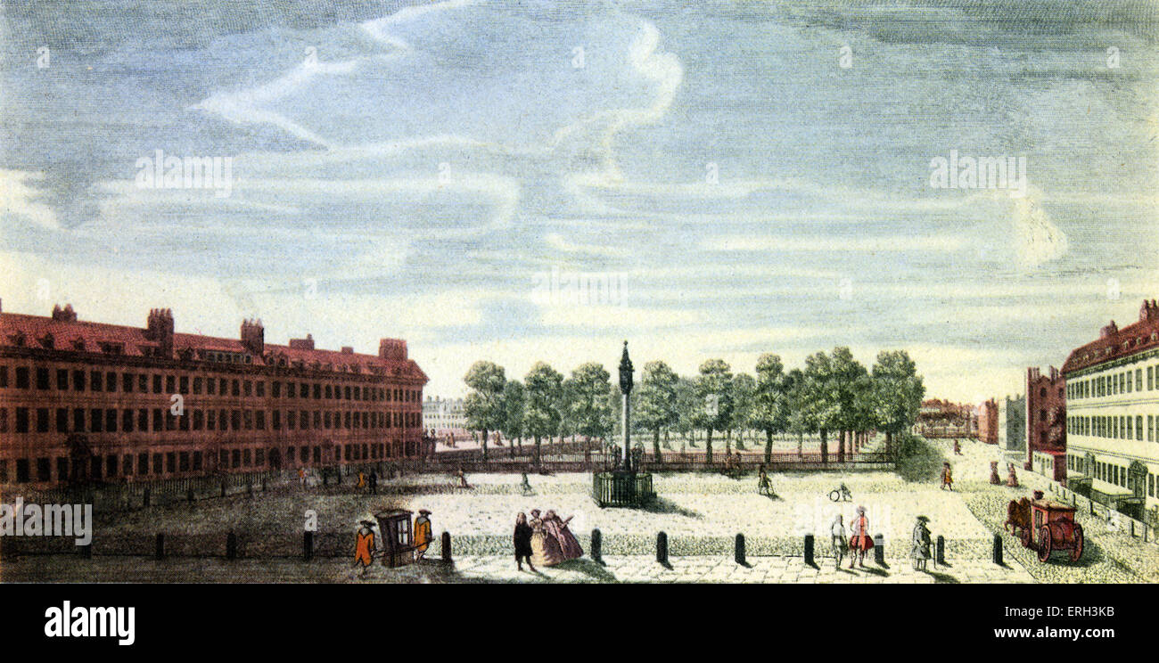 Lincoln's Inn - coloured engraving copy by J. Marsh, 19th century. - Stock Image