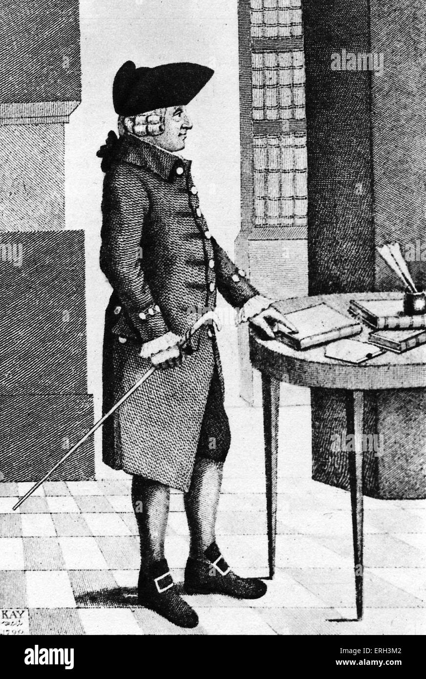 Adam Smith with cane and tricorn hat. Engraving by John Kay (1742 - 1826) from the 1853 edition of 'Wealth of - Stock Image