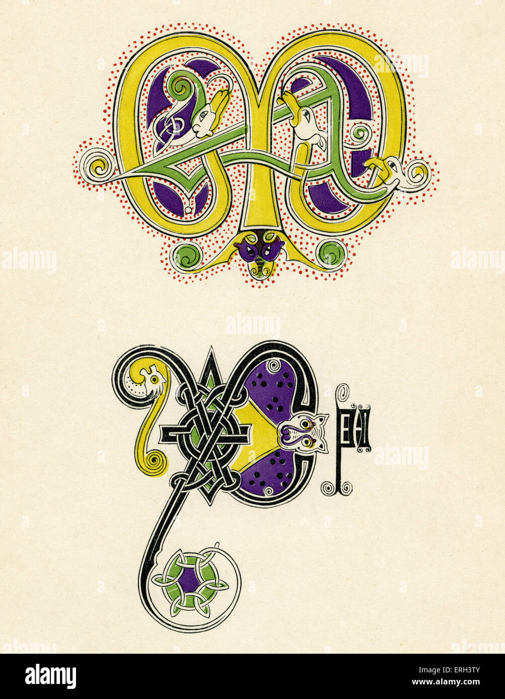 Seventh- and eighth-century monograms. (1886 source). Illuminated letters - Stock Image