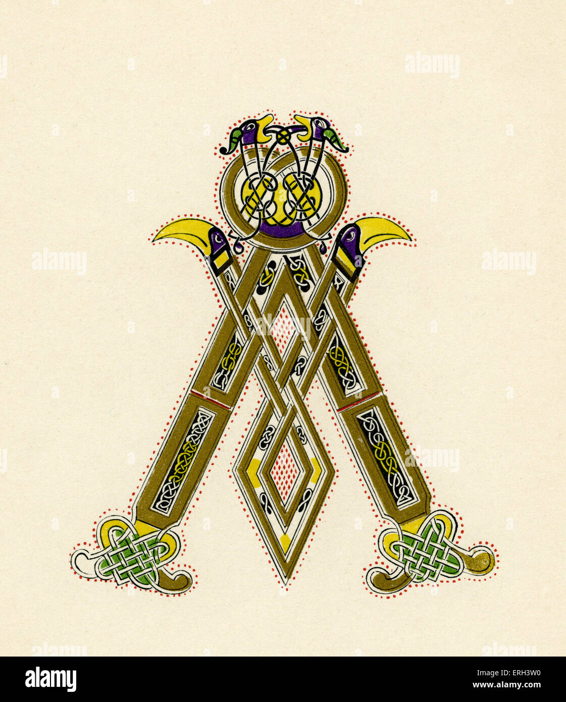 Illuminated letter A from the ninth-century bible of Charles the Bald. (1886 source). - Stock Image