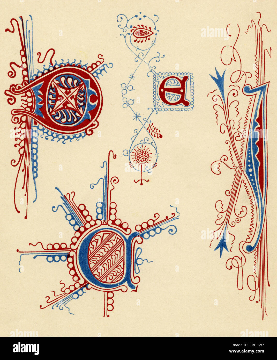 Illuminated letters.  Fourteenth and fifteenth century. (1886 source). - Stock Image