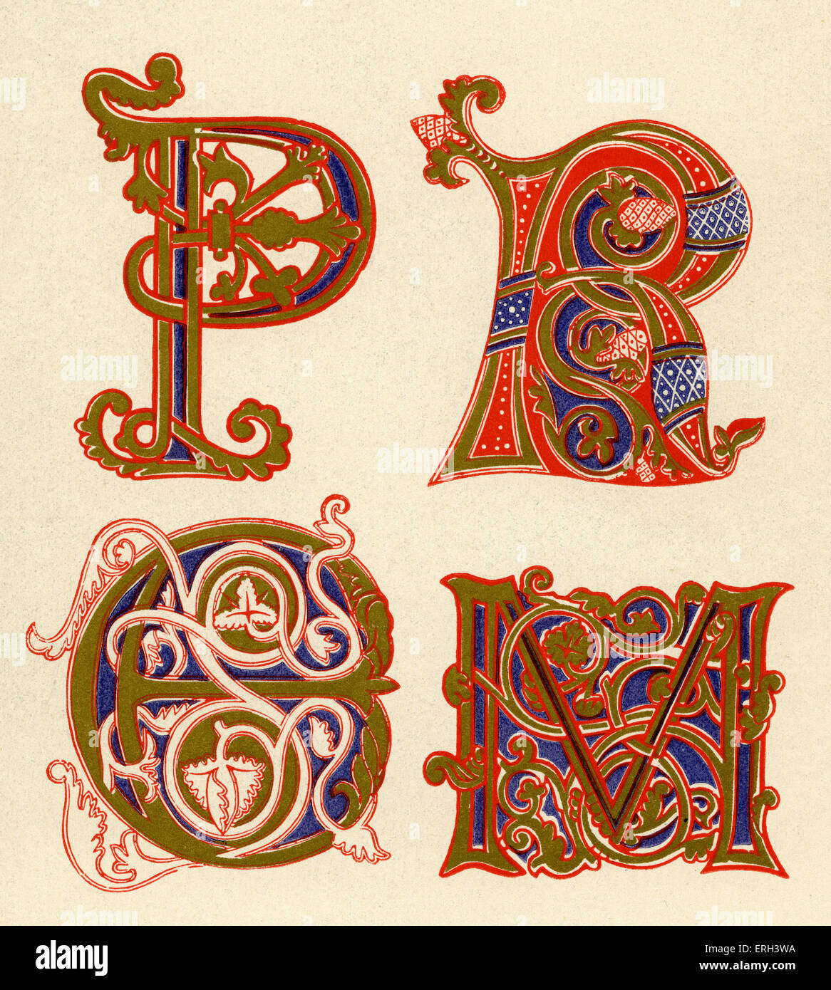 Illuminated letters P, R, C and M.  Ninth Century.  (1886 source). - Stock Image