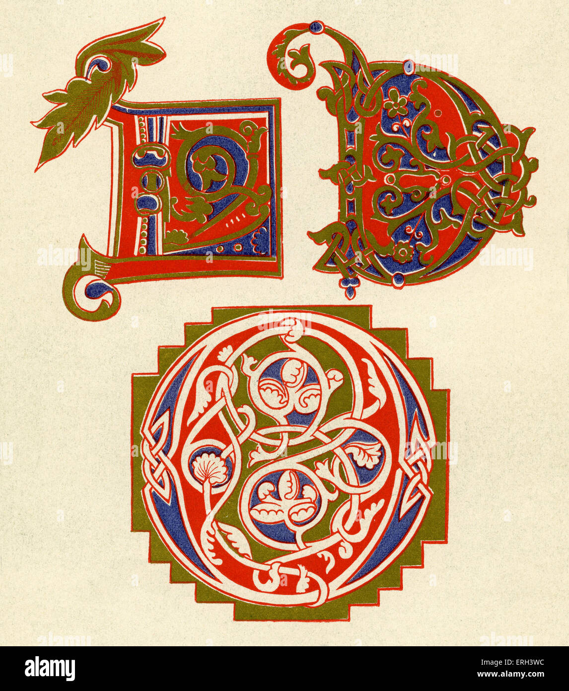 Illuminated letters D and O.  Tenth century. (1886 source). - Stock Image