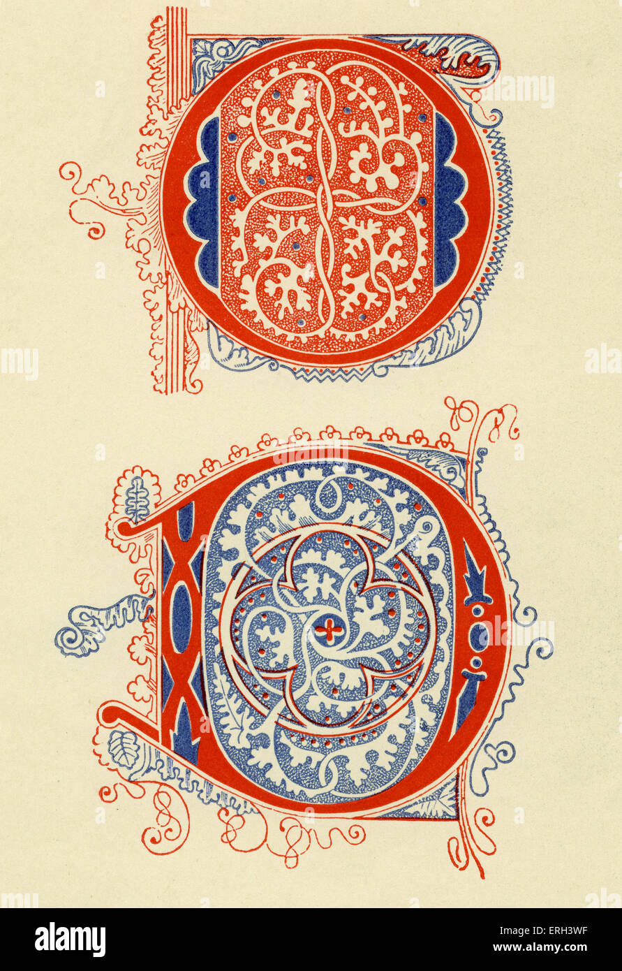 Illuminated letters O and D.  Fourteenth  century. (1886 source). - Stock Image