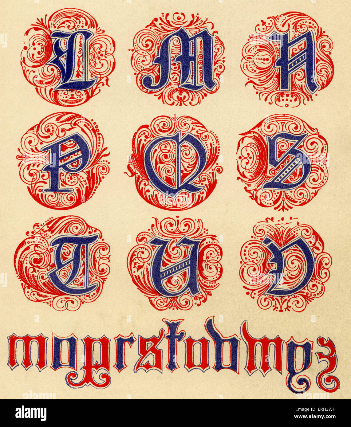 Red and blue illuminated alphabet. Fourteenth  century. (1886 source). - Stock Image