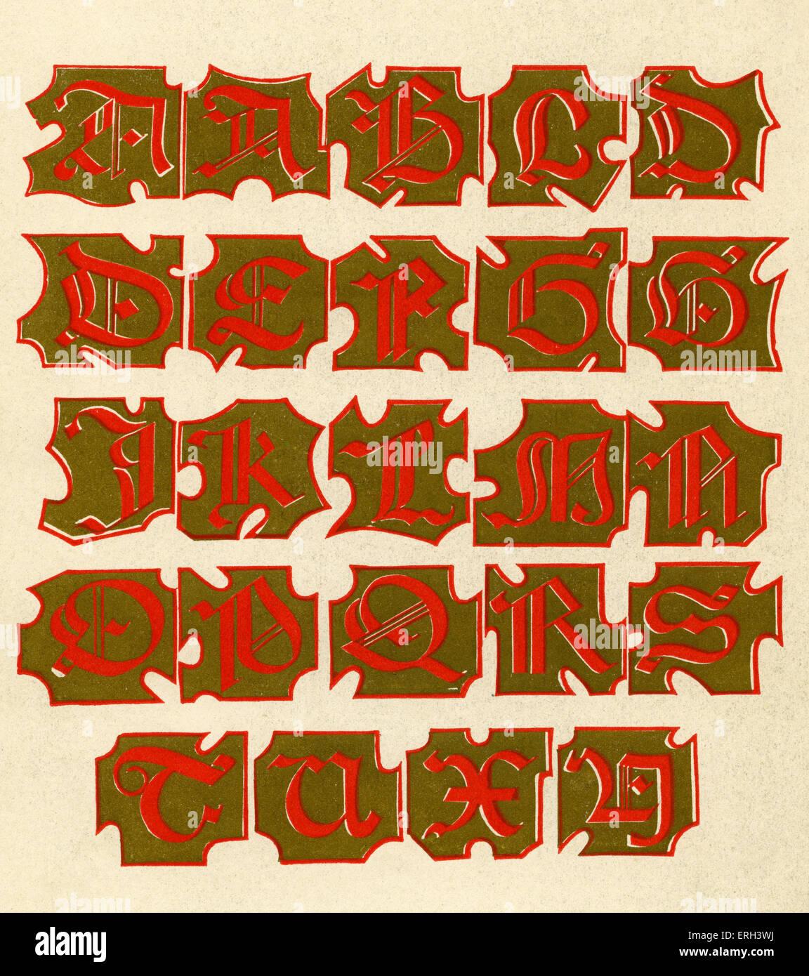 Gold illuminated alphabet.  Fourteenth  century. (1886 source). - Stock Image