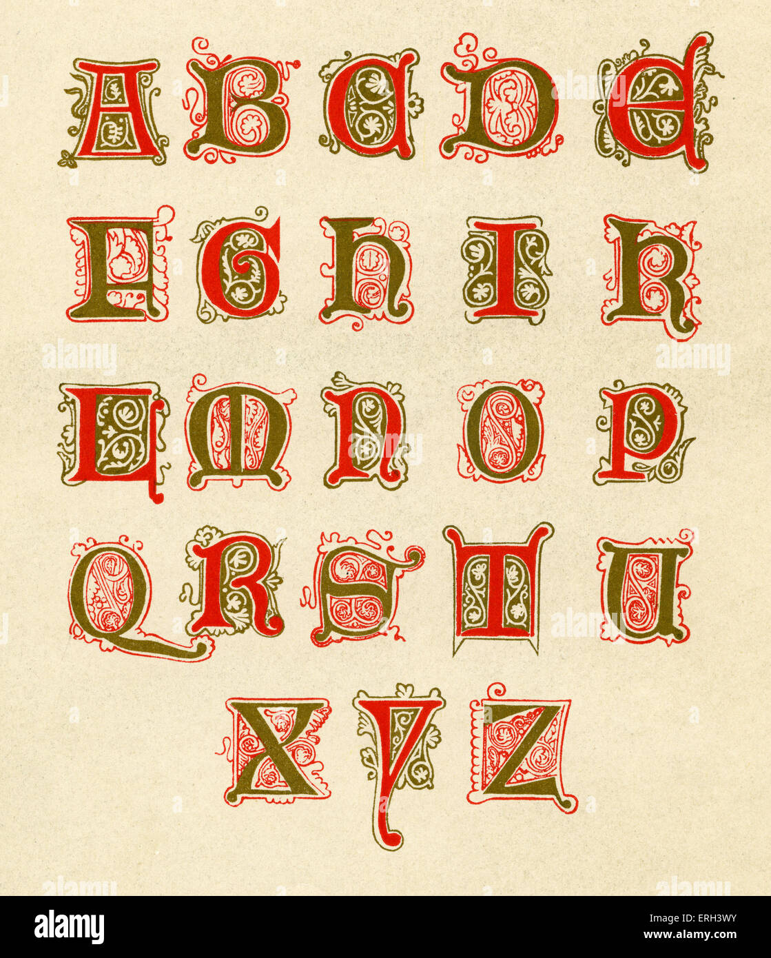 Fifteenth century illuminated alphabet. Red and gold. (1886 source). - Stock Image