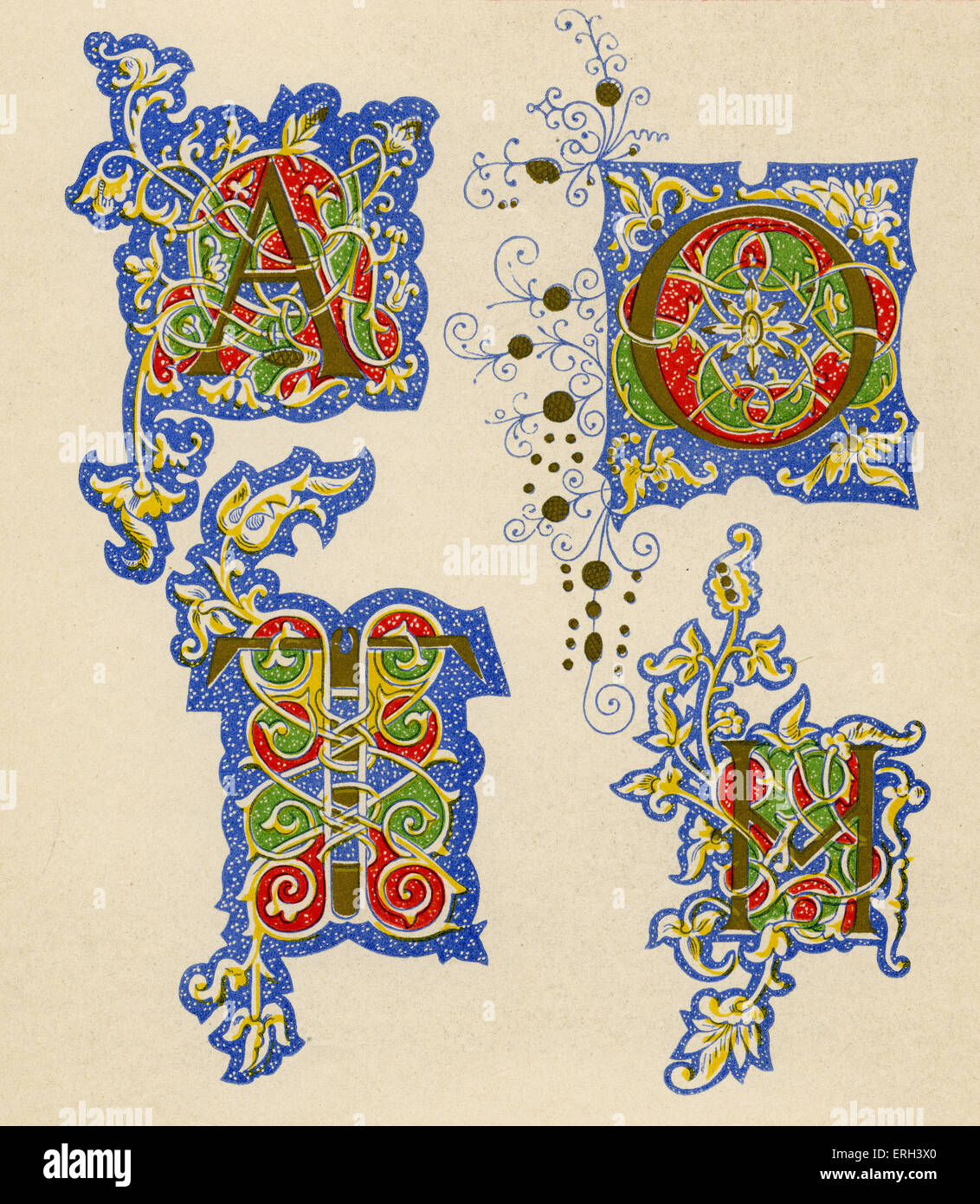 Illuminated letters A, O, T and M.  Fifteenth century. (1886 source). - Stock Image