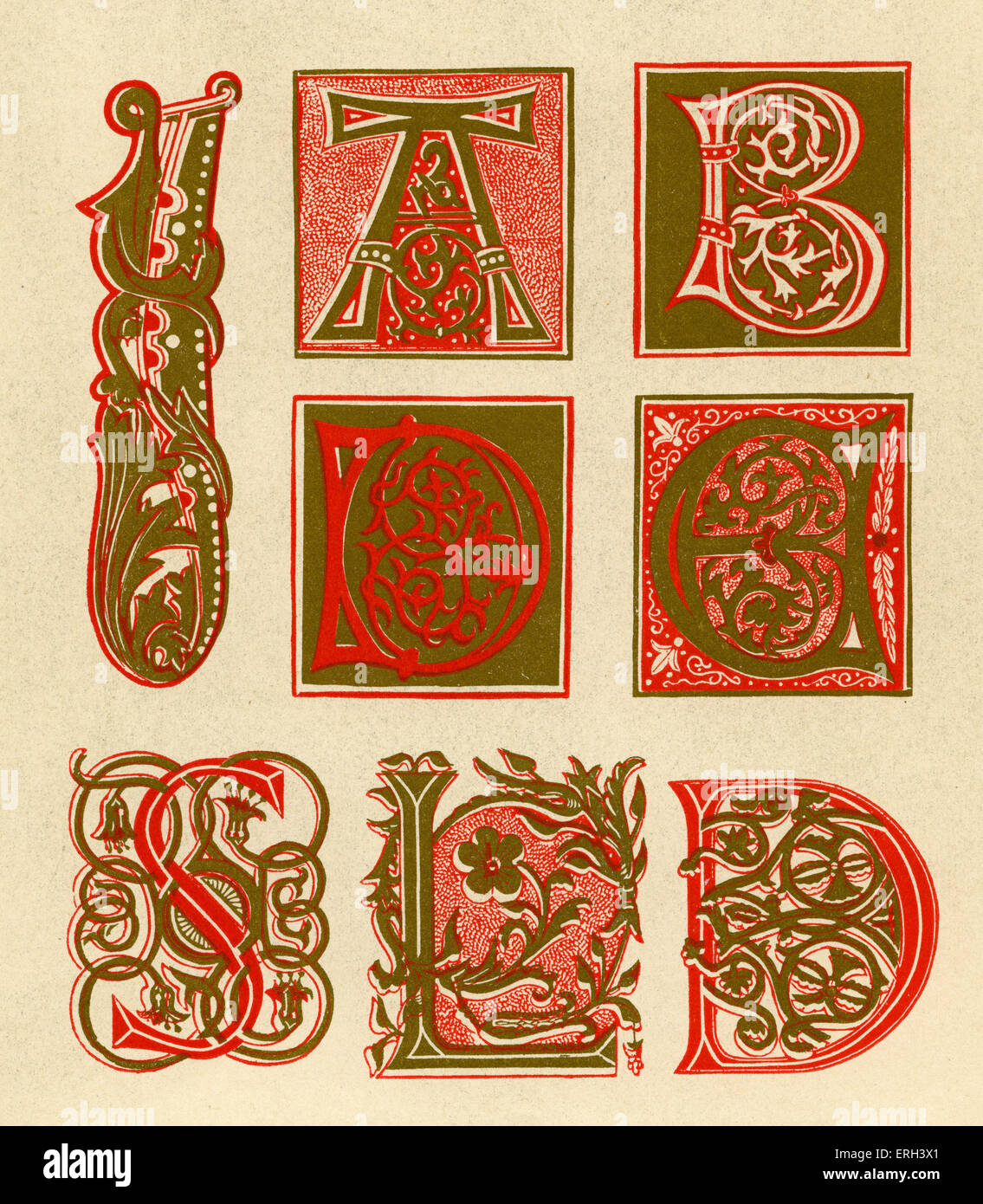 Illuminated letters A, B, C, D, S, L and I.  Fifteenth century. Red and gold. (1886 source). - Stock Image