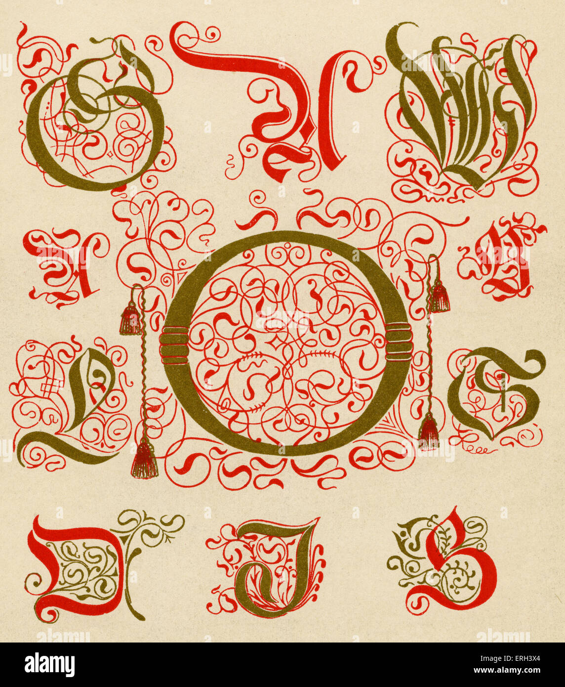 Sixteenth-century illuminated letters. The originals are from a printed book from Basle. (1886 source). - Stock Image
