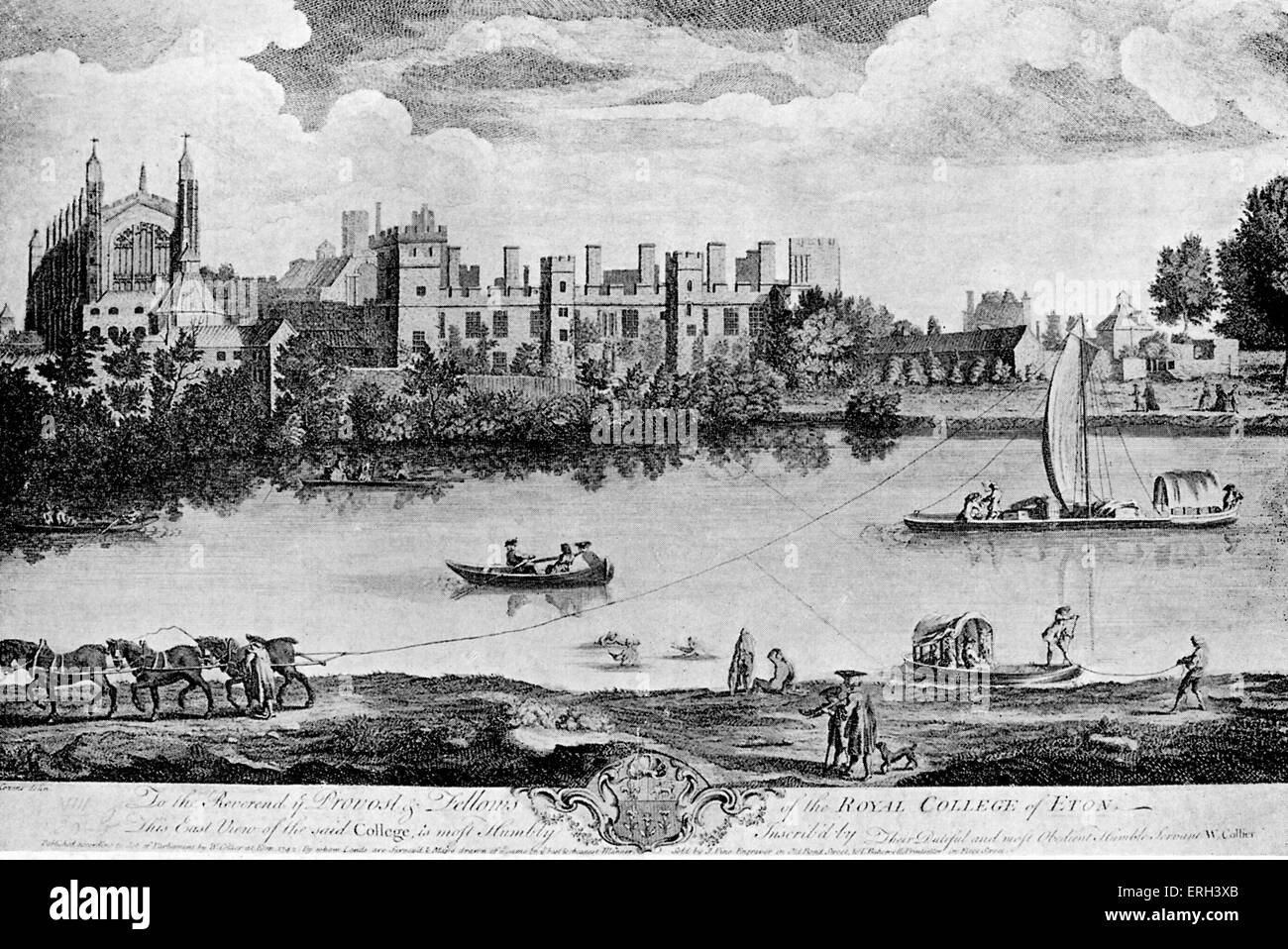 Eton - 1742.  Drawing by A. Cozens, engraving by J. Pine. Copy. - Stock Image