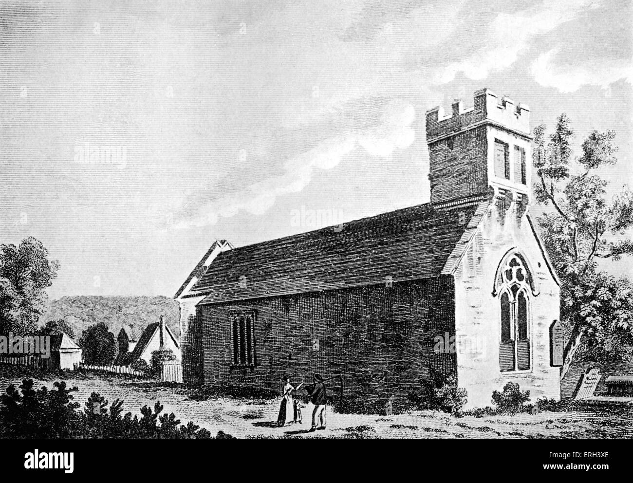 Charlcombe Church - where Henry Fielding married Charlotte Cradock. Copy of drawing from 1784. English novelist - Stock Image