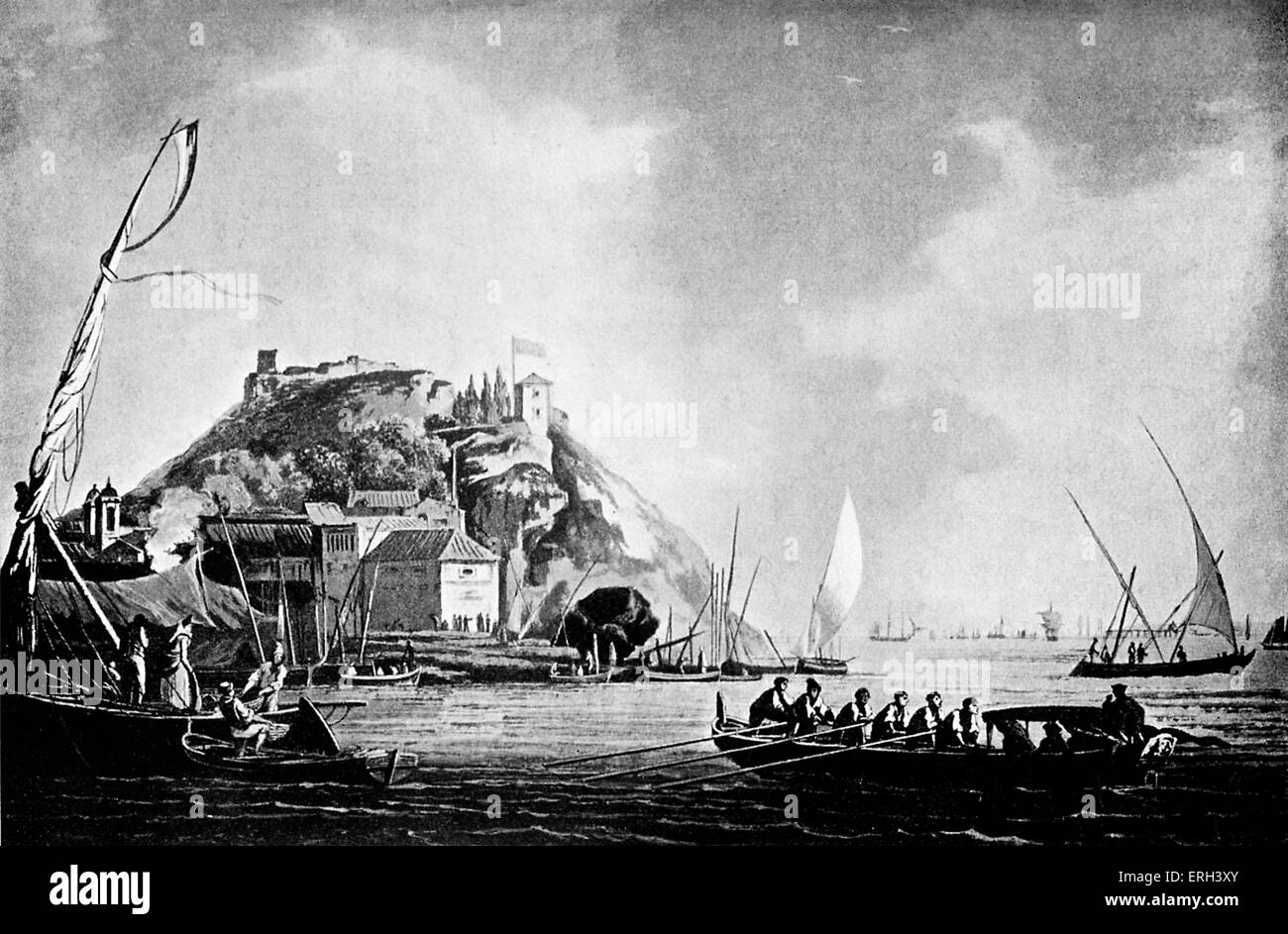 Lisbon harbour - 1793. Drawn by Noel, engraved by Wells.  Sailing and rowing boats. - Stock Image