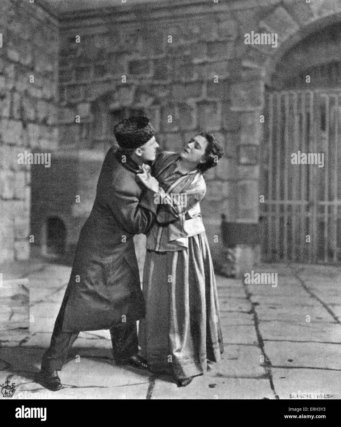 'Resurrection'.  Novel by Leo Tolstoy.  Nehludov, the protagonist, begs his former mistress Katusha to forsake - Stock Image