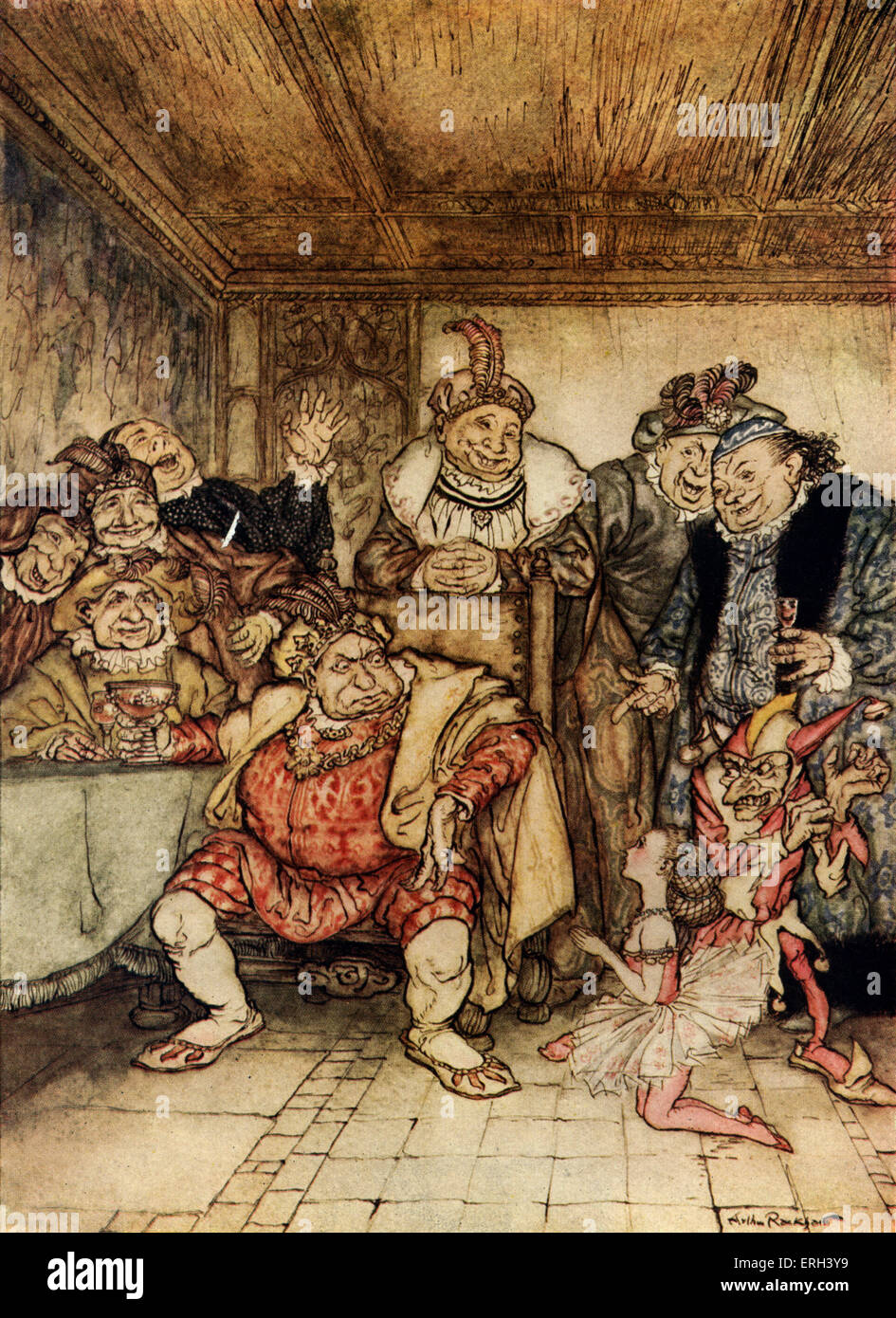 'Hop-Frog' by Edgar Allan Poe.  The court entertainer, Tripetta, begs the king to stop tormenting the jester, - Stock Image