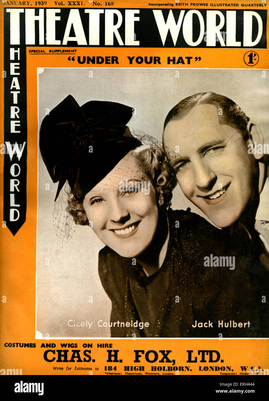 'Under Your Hat'  Cover of 'Theatre World'. 1939. By Archie Menzies, Arthur Macrae and Jack Hulbert, - Stock Image