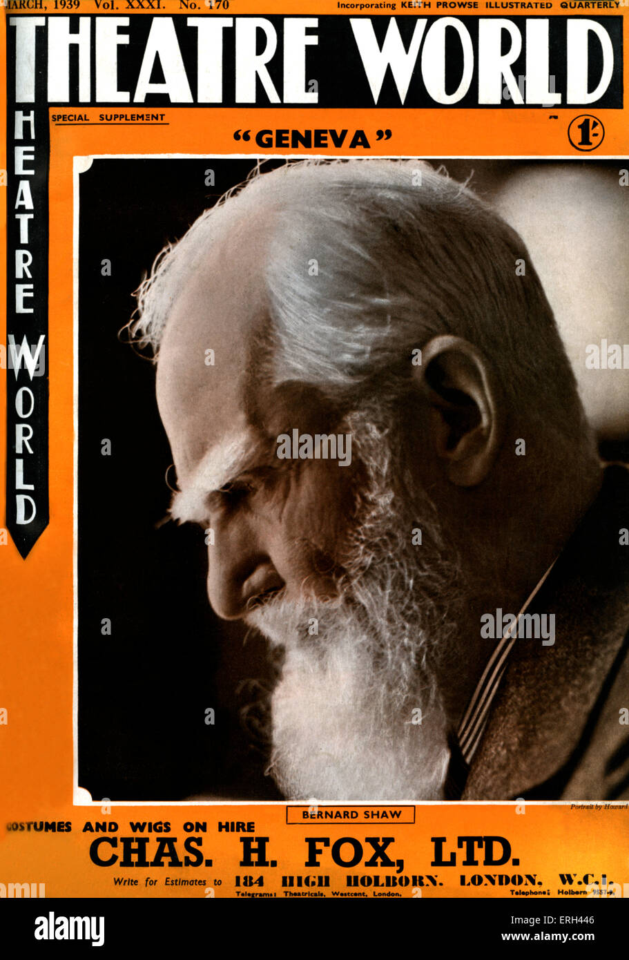 George Bernard Shaw,  On the cover of 'Theatre World', March 1939. Irish playwright, 26 July 1856 – 2 November - Stock Image