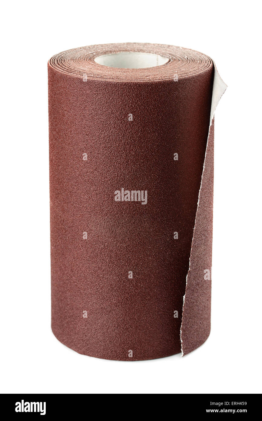 Brown sandpaper roll isolated on white - Stock Image