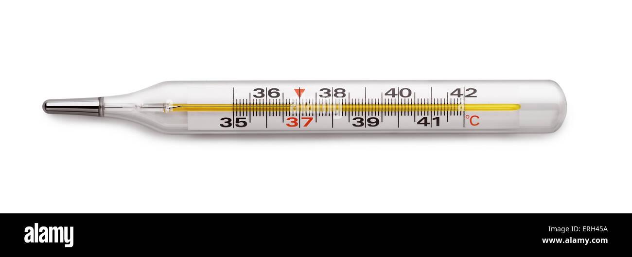Medical mercury thermometer isolated on white - Stock Image