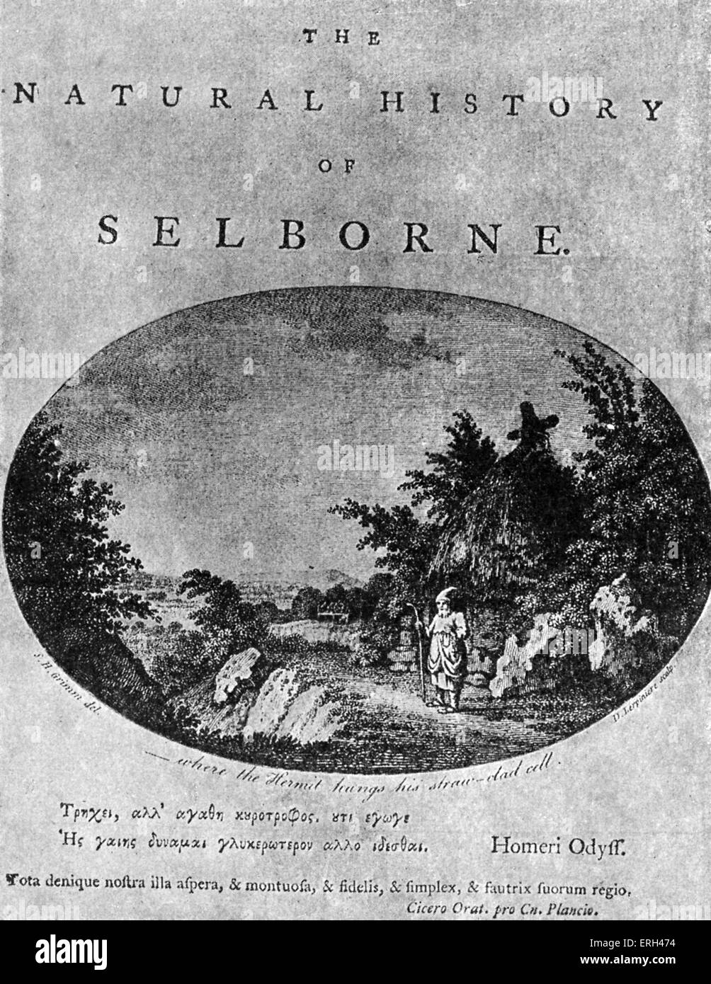 Gilbert White 's 'Natural History of Selborne', after the title page of the first edition. GW, pioneering - Stock Image