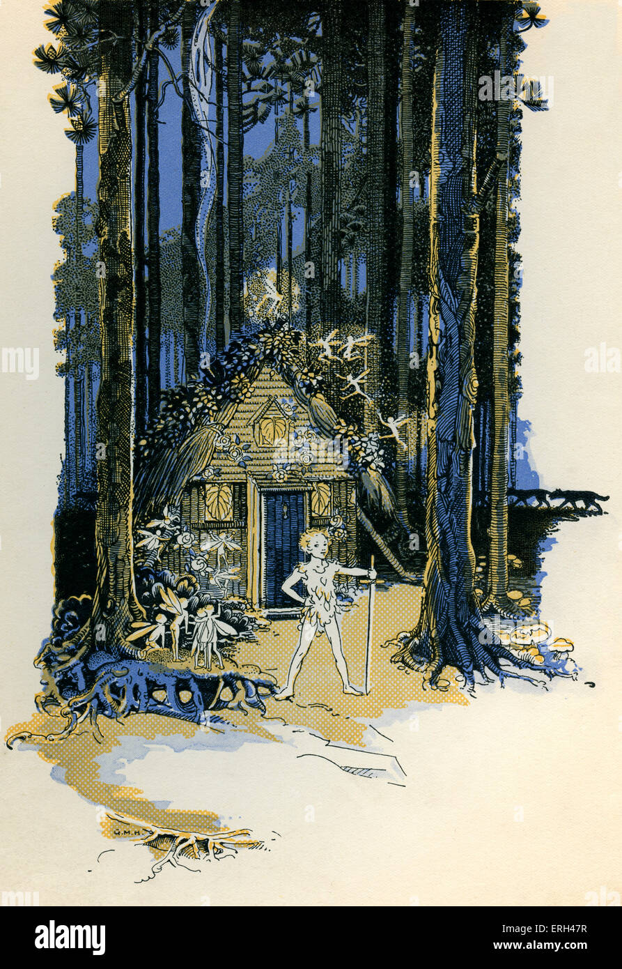 J. M. Barrie 's 'Peter Pan'. 'All night Peter kept guard' (of Wendy's house). James Matthew - Stock Image