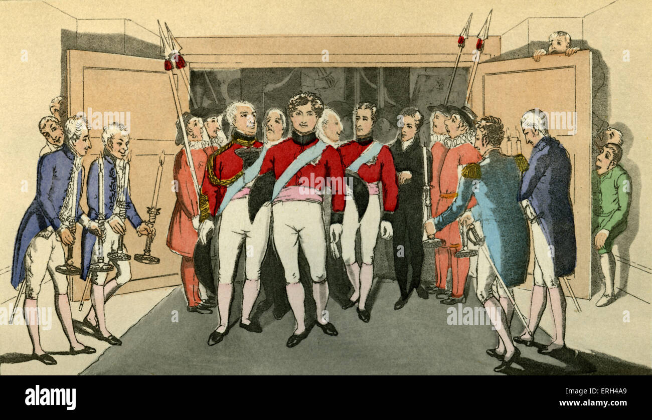 'Proteus, in his managerial capacity, conducting the King and his suite to the Royal box in the theatre. ' - Stock Image