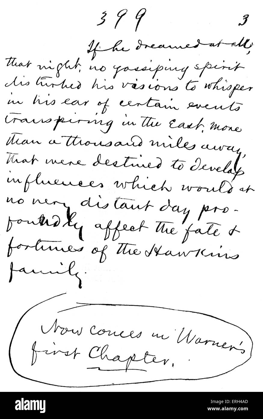 Mark Twain 's hand-written autograph manuscript of 'The Gilded Age' . The end of the first instalment. - Stock Image