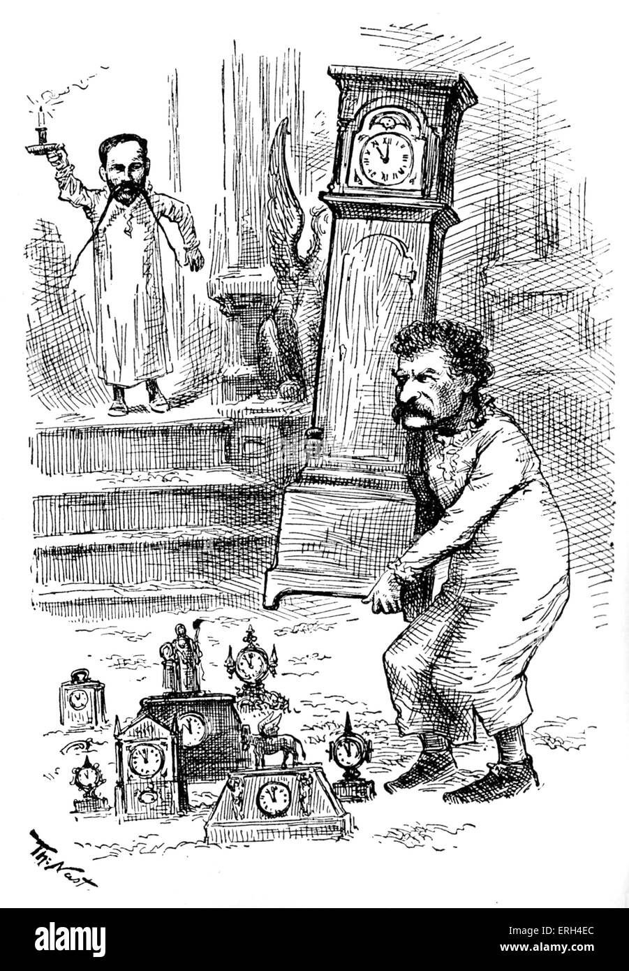 Mark Twain and the Clocks, caricature by Thomas Nast. (MT slept at Thomas Nast's house and turned off all the - Stock Image
