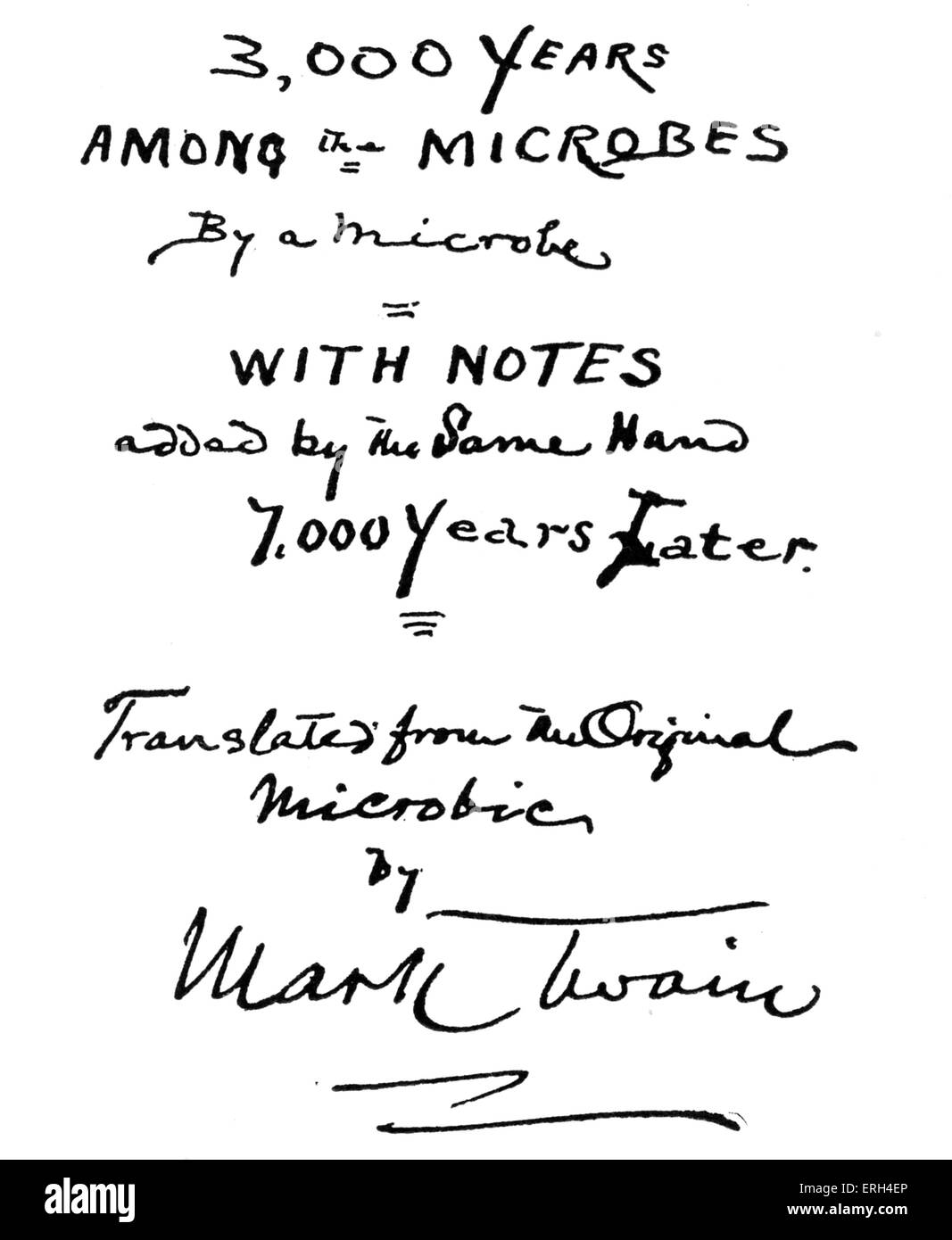 Mark Twain's suggested title-page for his microbe book, '3000 years among the Microbes'- 'the autobiography - Stock Image