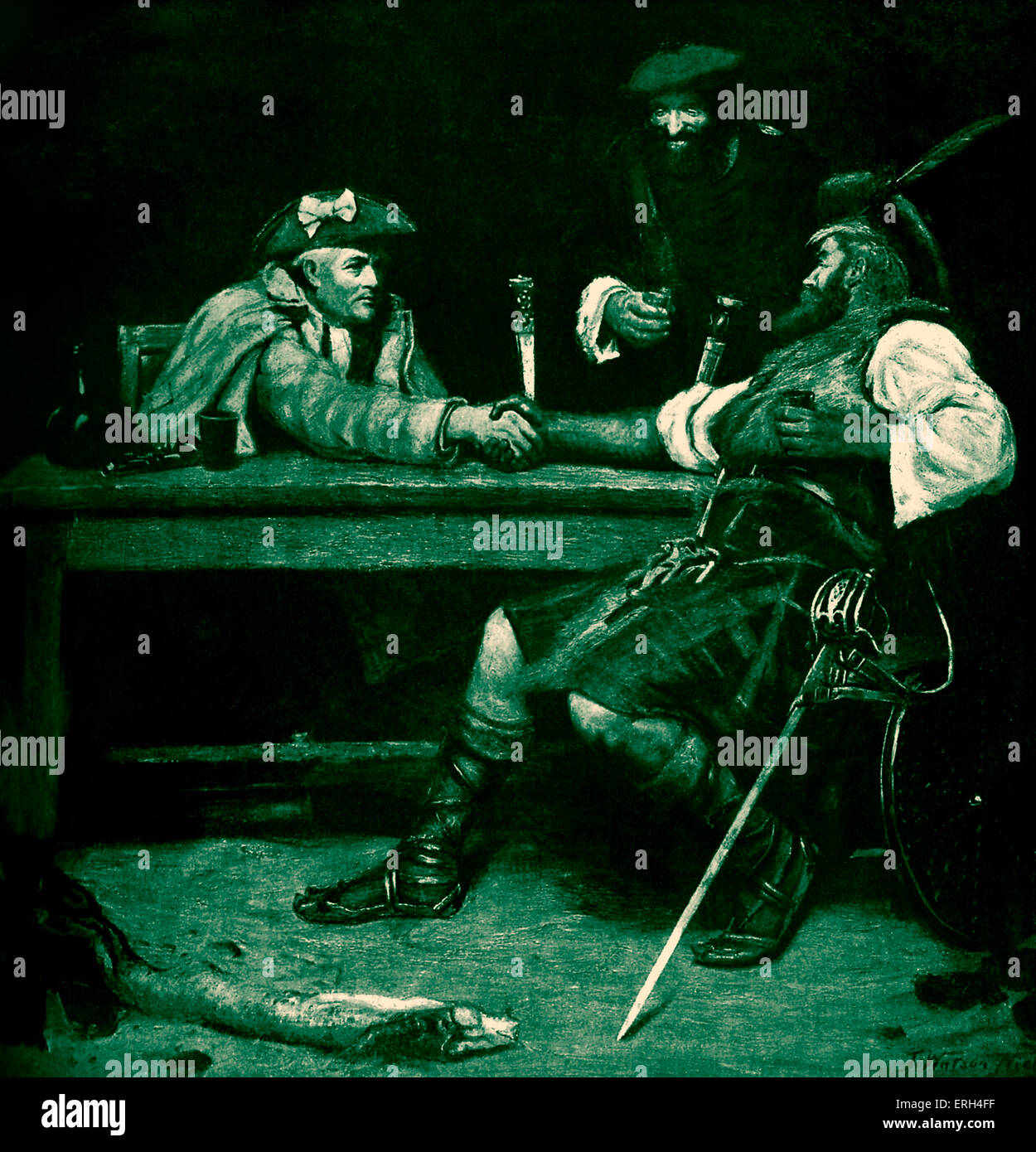Rob Roy and the Bailie, by John Watson Nicol (1856 - 1926). B/W Reproduction of the painting for the cover of The Bookman 1930. Stock Photo