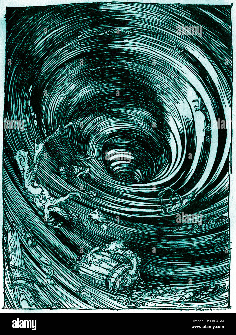 A Descent into the Maelstrom' by Edgar Allan Poe. Illustration by Arthur Rackham (1867 - 1939). EAP American - Stock Image