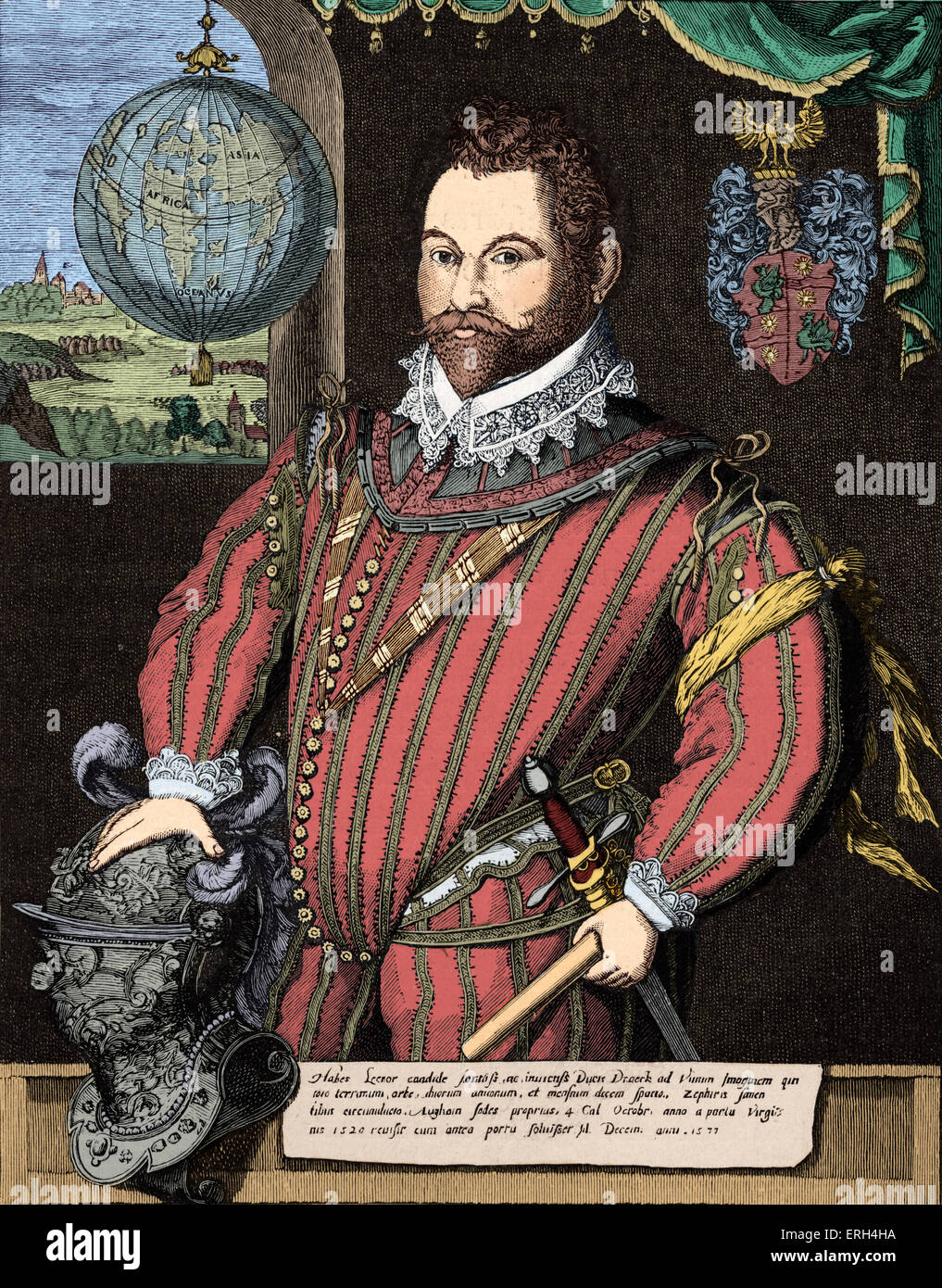 Sir Francis Drake - portrait of the English navigator, sailor and politician. c. 1540 – 28 January 1596. Colourised - Stock Image