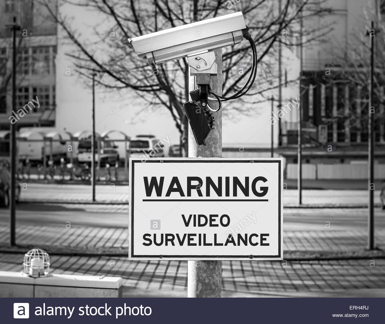 Warning - Video Surveillance - Stock Image