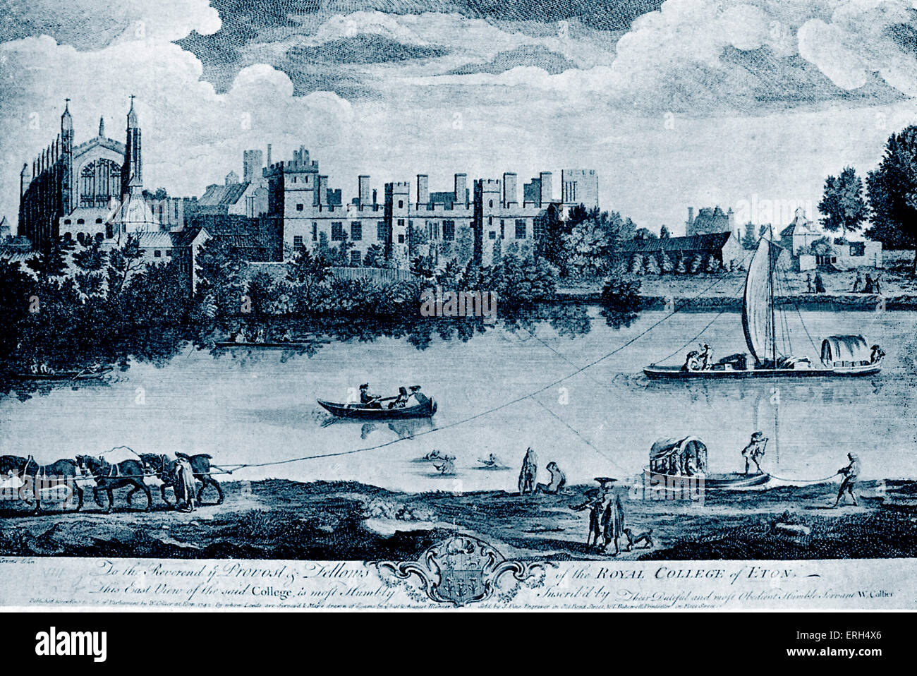 Eton - 1742. Drawing by A. Cozens, engraving by J. Pine. Copy. Tinted version. - Stock Image