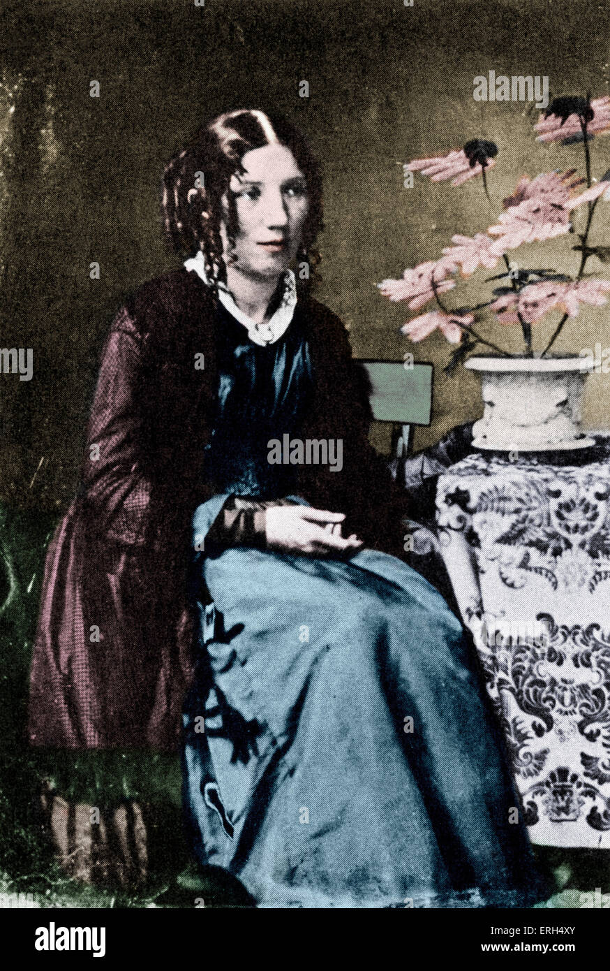 Harriet Beecher Stowe c. 1852, American author and abolitionist. 14 June 1811 – 1 July 1896. Colourised version. - Stock Image