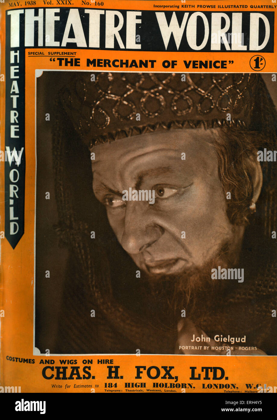 'The Merchant of Venice' by William Shakespeare with John Gielgud on the cover of Theatre World, May 1938,cover - Stock Image