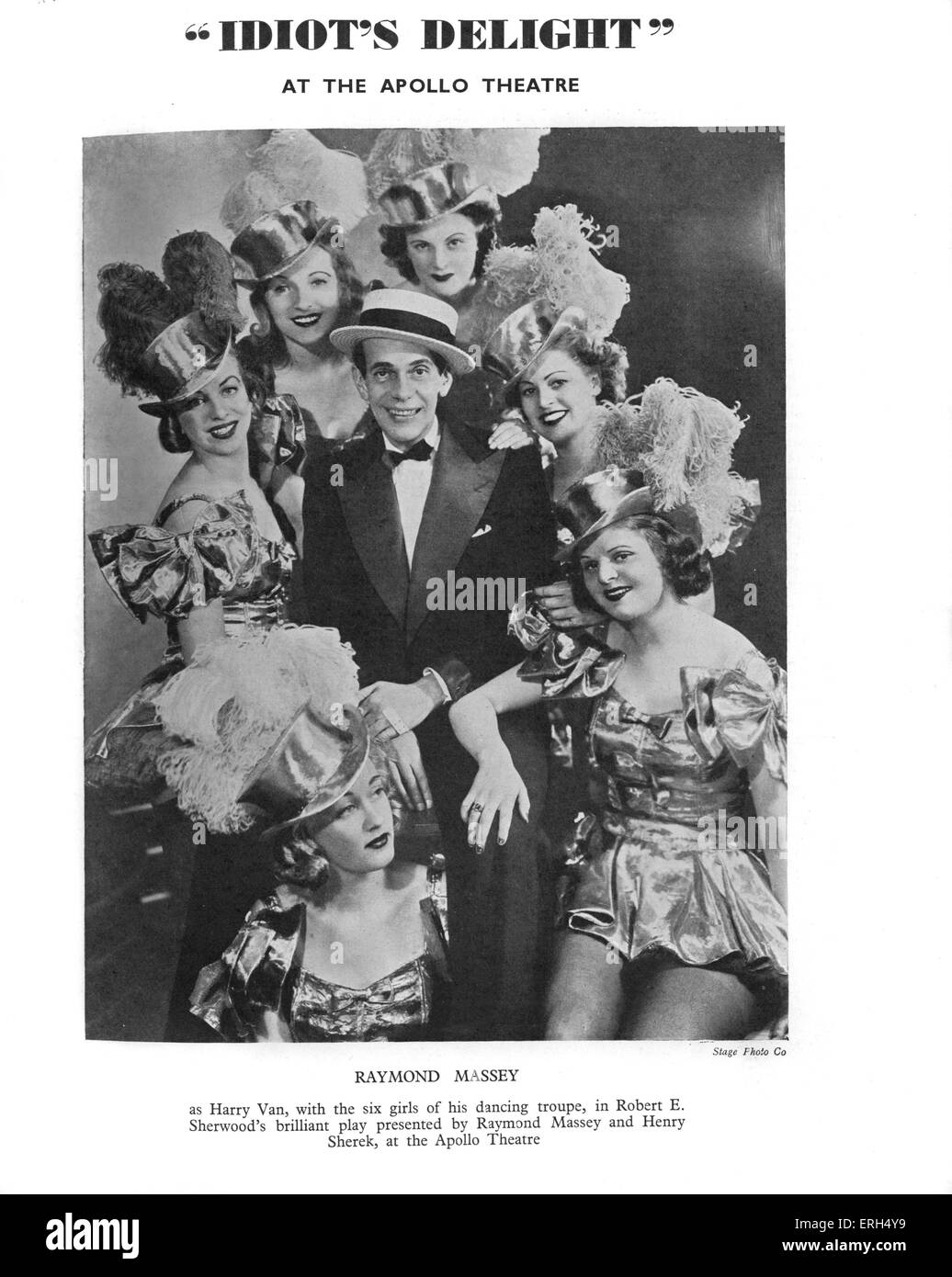 'Idiot's Delight' by Robert E. Sherwood with Raymond Massey as Harry Van and six girls of his dancing - Stock Image