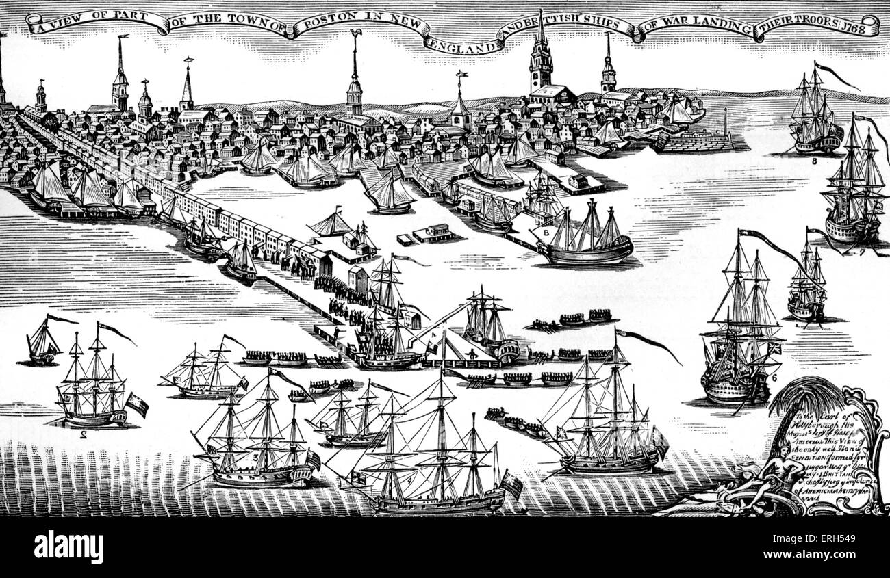 Landing of British troops at Boston harbour, 1768. Engraving by Paul Revere. The colonists in Boston took direct - Stock Image