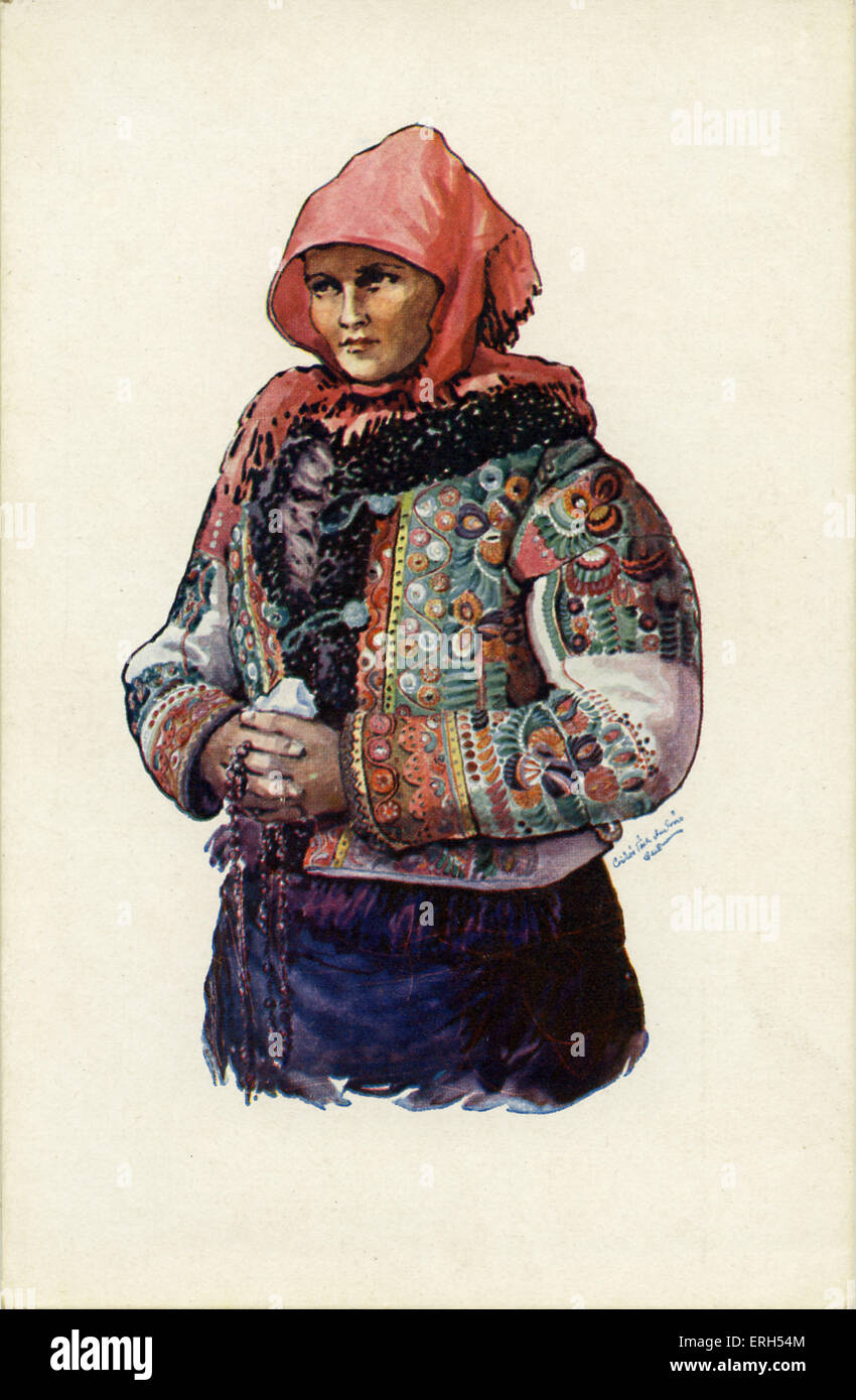 Hungarian peasant woman in traditional clothing with headscarf and embellished jacket. - Stock Image